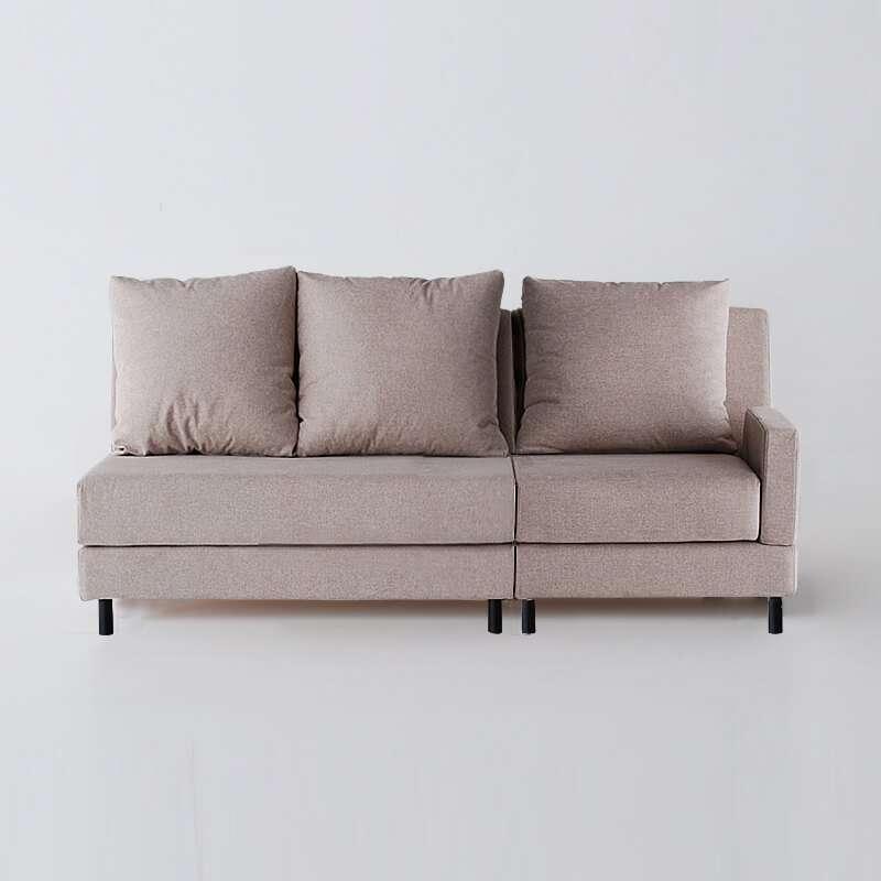 Sofá de 3 plazas con brazo derecho del modelo Brick tapizado en Austin Beige vista delantera de SITSOFA