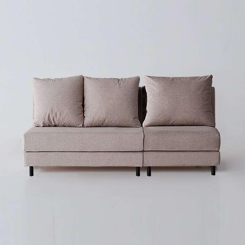 Sofá de 3 plazas sin brazos del modelo Brick vista delantera tapizado en tela Austin Beige de SITSOFA
