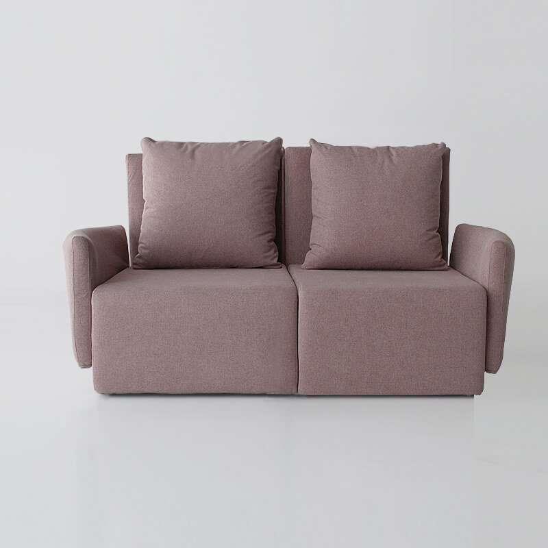 Sofá de 2 plazas del modelo Circo vista delantera tapizado en tela Austin Flamingo de SITSOFA