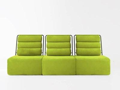 Sofá de 3 plazas del modelo Roler tapizado en tela Enjoy green de SITSOFA
