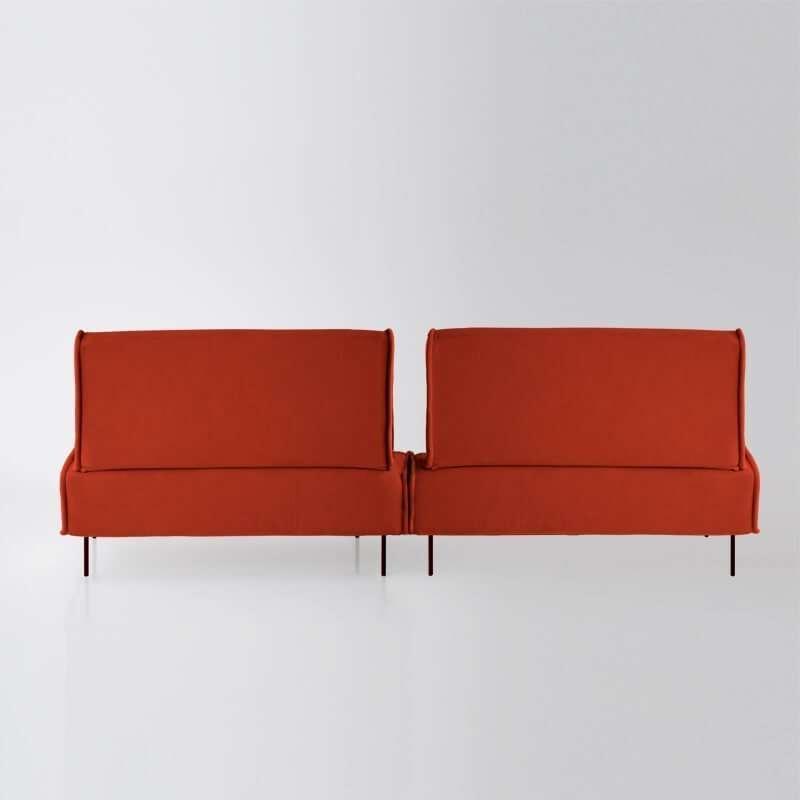 Sofá de 4 plazas modelo Sugar vista trasera tapizado en tela Enjoy orange de SITSOFA