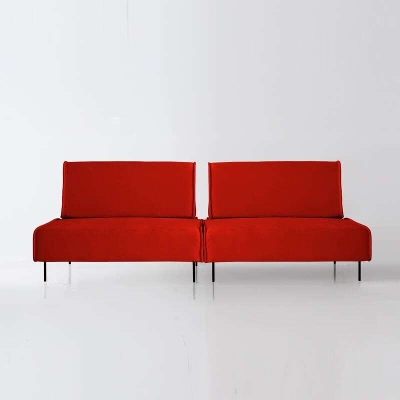 Sofá de 4 plazas modelo Sugar visita delantera tapizado en tela Enjoy orange de SITSOFA