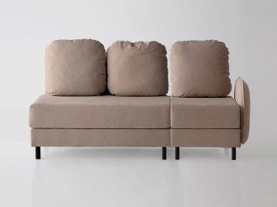 Sofá de 3 plazas y con brazo derecho del modelo Tokyo vista delantera tapizado en tela Austin Beige de SITSOFA