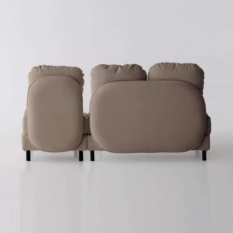 Sofá de 3 plazas sin brazos del modelo Tokyo vista trasera tapizado en tela Austin Beige de SITSOFA