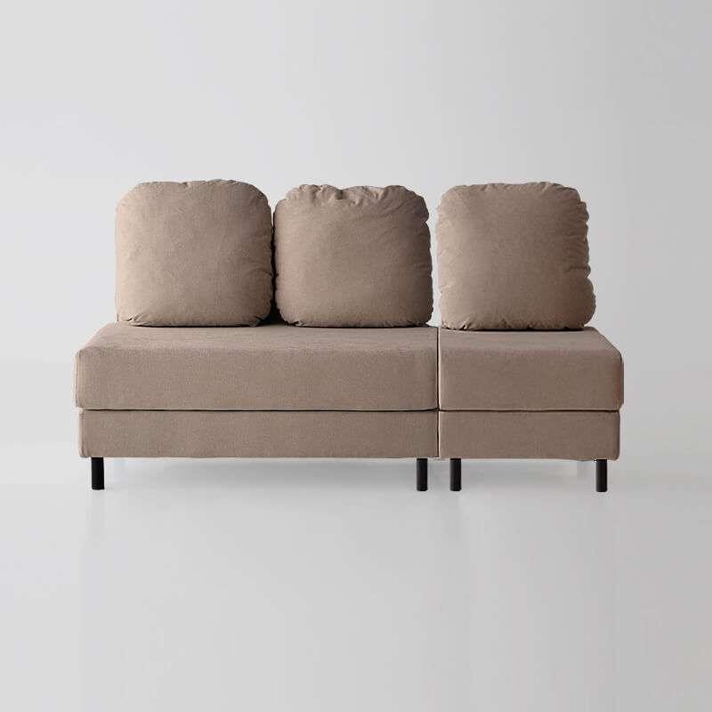 Sofá de 3 plazas sin brazos del modelo Tokyo vista delantera tapizado en tela Austin Beige de SITSOFA