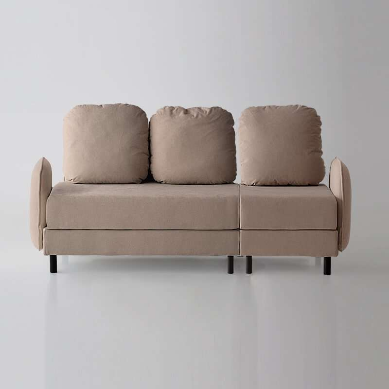 Sofá de 3 plazas del modelo Tokyo vista delantera tapizado en tela Austin Beige de sitsofa