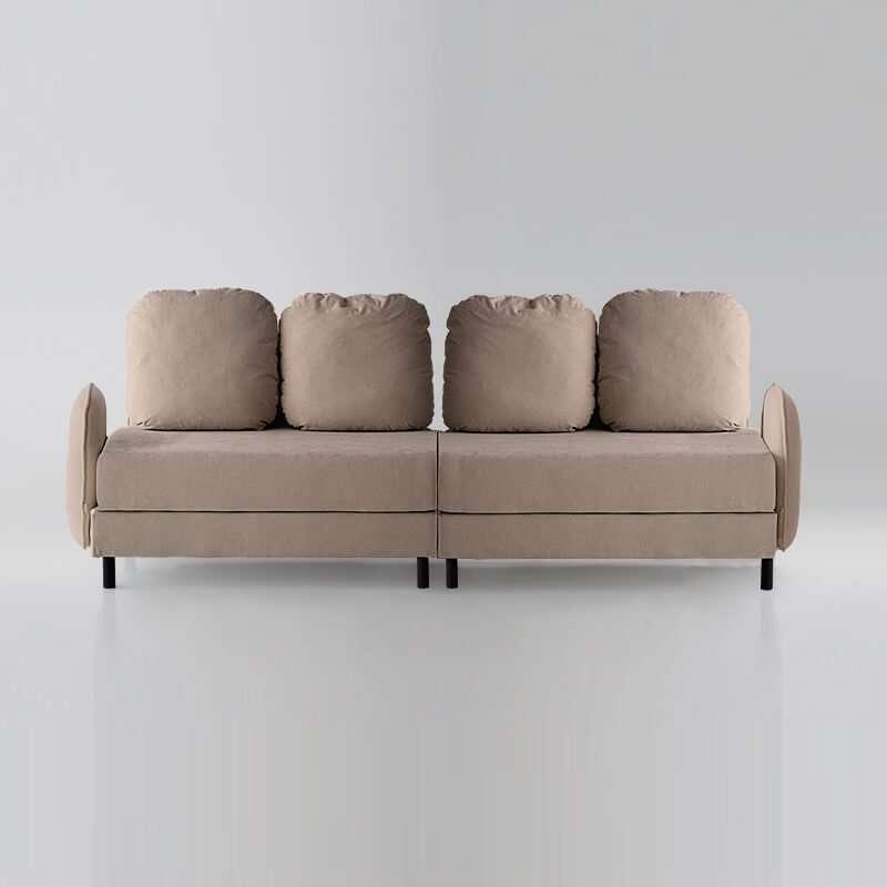 Sofá de 4 plazas del modelo Tokyo vista delantera tapizado en tela Austin Beige de sitsofa