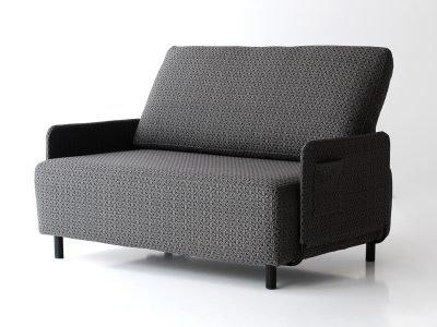 Sofá sunny black de dos plazas tapizado con tela de
